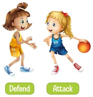 Palabras opuestas con defender y atacar.