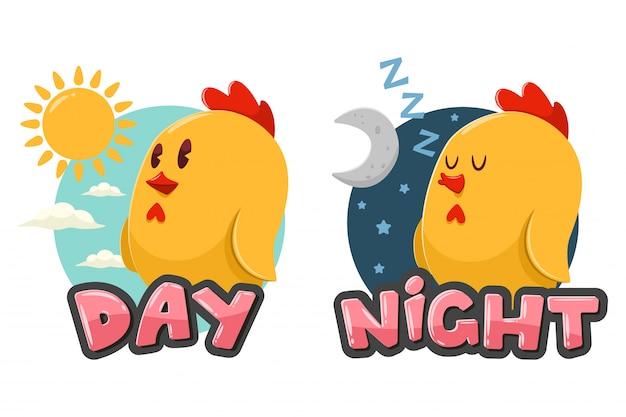 Palabras opuestas día y noche. ilustración de dibujos animados con pollo divertido, sol y luna aislado sobre fondo blanco.