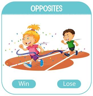 Palabras opuestas con ganar y perder.