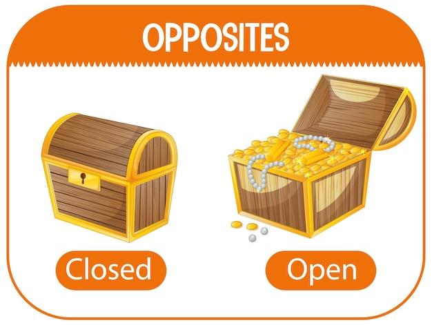 Palabras opuestas con ilustración cerrada y abierta.