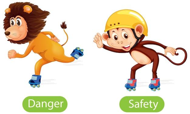 Palabras opuestas con peligro y seguridad.