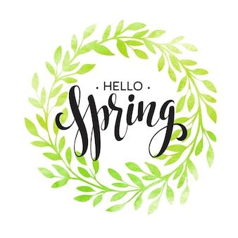 Palabras primavera con corona, ramas, hojas. ilustración