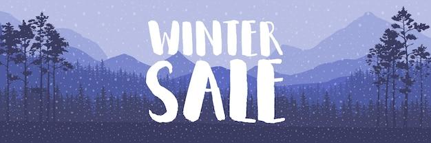 Palabras de venta de invierno en la hermosa navidad plana fondo de paisaje de vacaciones de invierno con árboles, copos de nieve, nieve que cae. ilustración vectorial