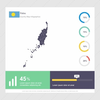 Palau map y flag infographics template
