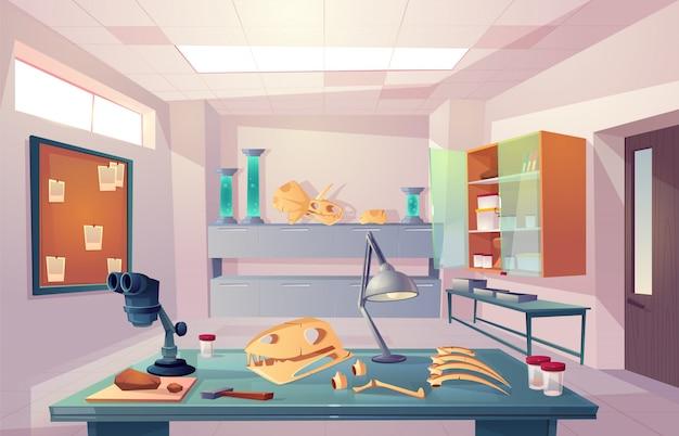 Paleontología, laboratorio de genética de la universidad, examen de huesos fosilizados, estudio de dinosaurios esqueleto anatomía ilustración vectorial de dibujos animados