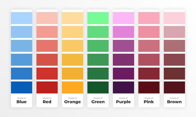Paleta de colores creativa con matices de color.
