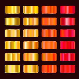 Paleta de colores degradados de efecto de acero colorido. conjunto de textura de metal amarillo naranja rojo oro