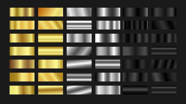 Paleta de colores degradados de titanio plateado dorado