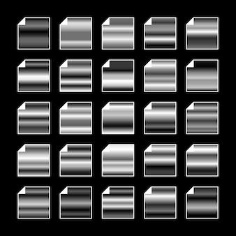 Paleta de colores de metal blanco negro. textura de acero