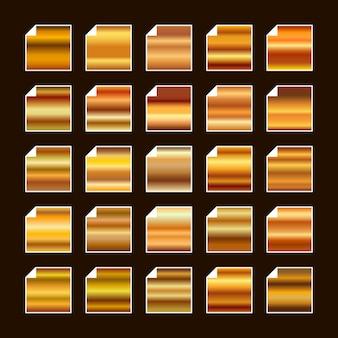 Paleta de colores de metal dorado amarillo anaranjado. textura de acero