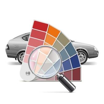 Paleta de colores vectoriales para coche aislado sobre fondo blanco.