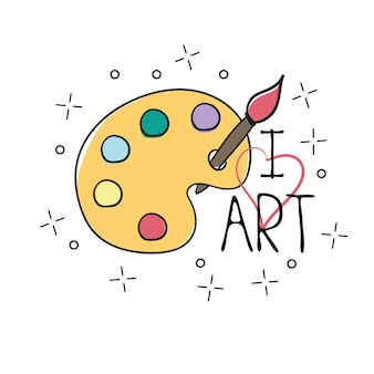 Paleta con doodle de contorno dibujado a mano de pincel. dibujo vectorial para camiseta