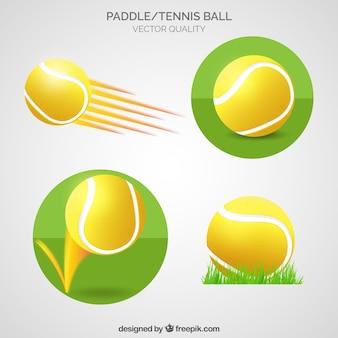 Paleta y pelota de tenis