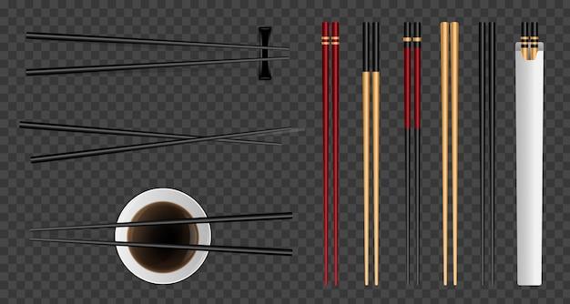 Palillos de comida de sushi, salsa de soja de bambú asiático.