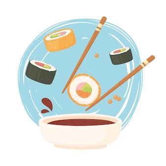 Palillos de sushi con rollo en salsa de soja y nigiri, ilustración de comida sashimi
