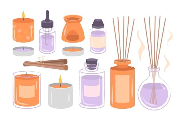 Palitos perfumados de aromaterapia dibujados a mano