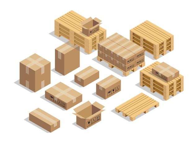 Pallets para envío con cartón y estilo isométrico.