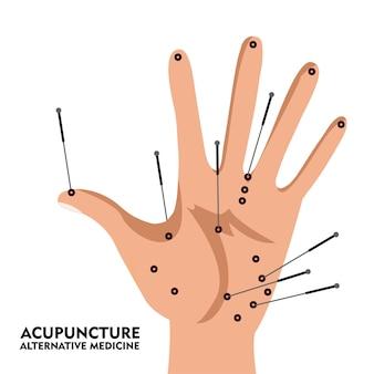 Palma con esquema de puntos de acupuntura. estilo de dibujos animados. ilustración vectorial.