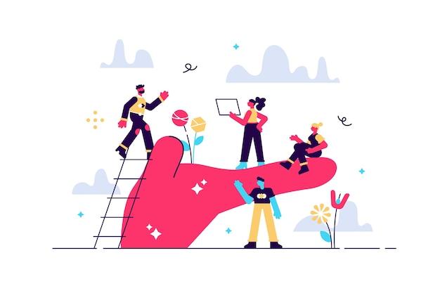 La palma de la ilustración sostiene a las personas concepto de cuidado de los empleados bienestar en el trabajo o en el lugar de trabajo beneficios para el apoyo del personal para el crecimiento profesional