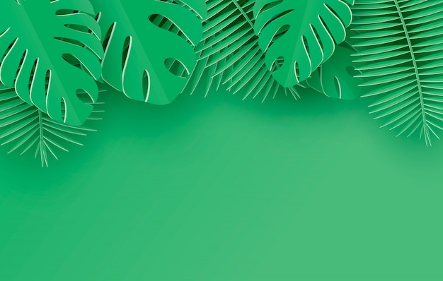 Palma de papel tropical, monstera deja marco. hoja tropical de verano. origami exótica selva hawaiana, fondo de verano. estilo de corte de papel.