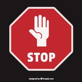 Palma silueta de la mano abierta como señal de stop
