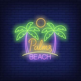 Palmas, texto de neón de playa con sol.