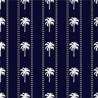 Palmera rayada con línea de trazos y pequeños puntos rojos vibraciones de verano sin patrón, diseño para moda, tela, papel tapiz y todos los estampados