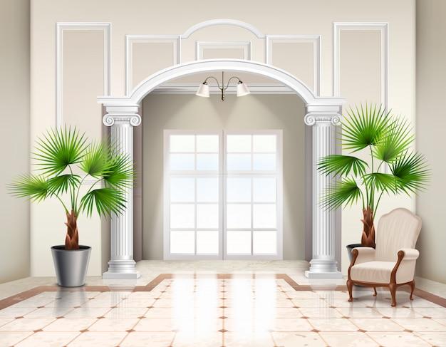 Palmeras de abanico en macetas interiores como plantas de interior decorativas en el vestíbulo interior espacioso clásico realista