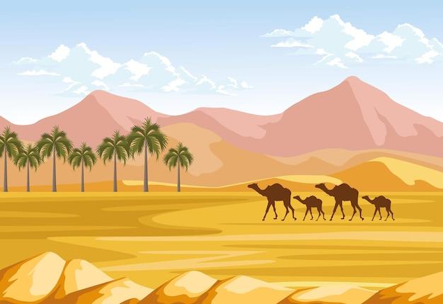 Palmeras y camellos