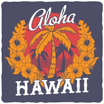 Palmeras y flores hawaianas