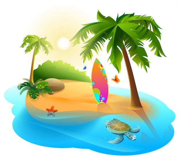 Palmeras, isla tropical y tabla de surf
