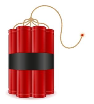 Palo rojo de dinamita con ilustración de fusible bickford aislado en blanco