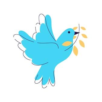 Paloma con la ilustración de la rama de olivo. pájaro, paloma que sostiene la ramita de la planta aislada en el fondo blanco. símbolo tradicional de la fiesta judía. metáfora internacional de paz y libertad.