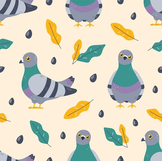 Paloma pájaro y hojas de patrones sin fisuras.