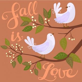 Palomas en una rama