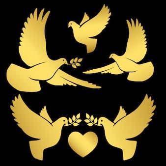 Palomas voladoras doradas sobre negro