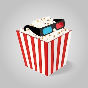Palomitas de maíz en caja con gafas 3d para cine