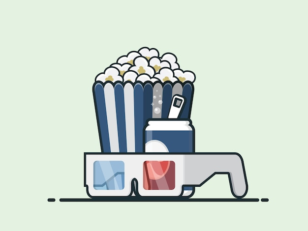 Palomitas de maíz, coca cola y vasos. cine.
