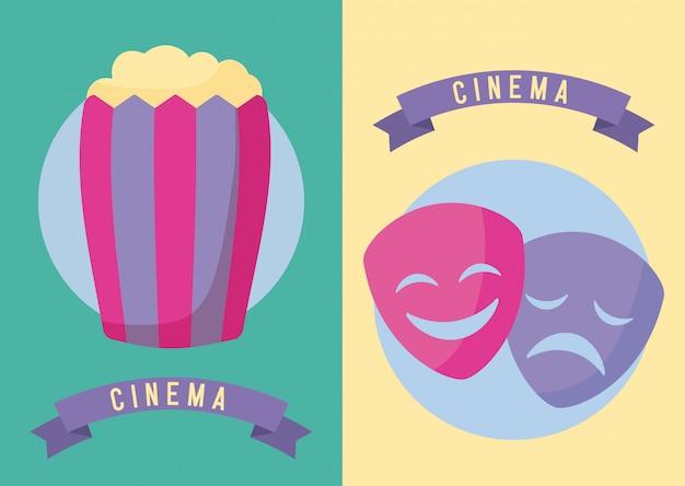 Palomitas de maíz con máscaras cine película.