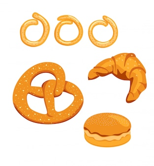 Pan y bollos ilustración plana. hornee pan y bollos aislados sobre fondo blanco. croissant, bagel y pretzel.