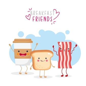 Pan de café lindo y divertido y tocino sonriendo
