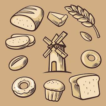 Pan, cereales, trigo, rosquilla, molinillo de pasteles y cocina. establecer símbolos e icono de panadería de vector.