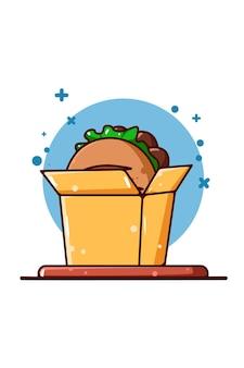 Pan dulce en la ilustración de dibujos animados de caja de comida