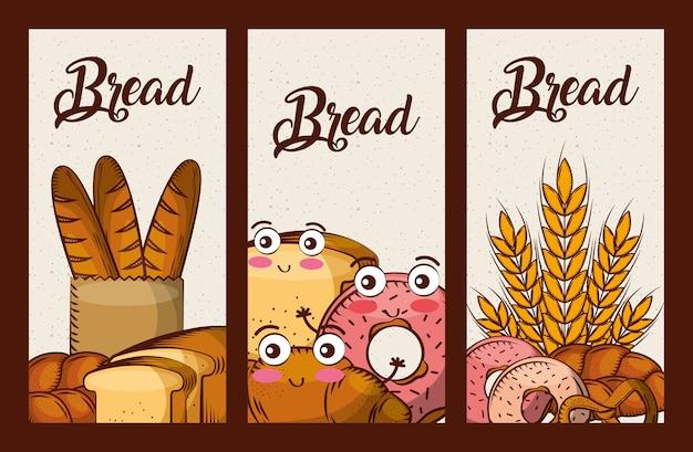 Pan fresco conjunto dibujos animados kawaii alimentos pancartas