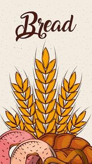 Pan fresco panadería trigo donas pretzel banner vertical
