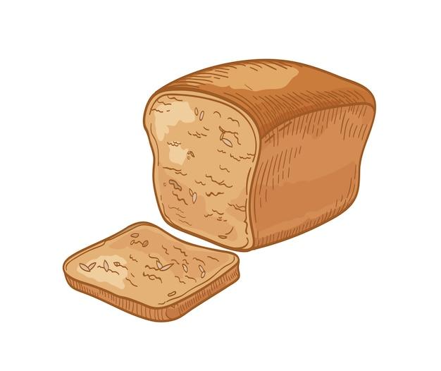 Pan integral y rebanada o tostada aislado en blanco.