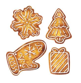 Pan de jengibre de navidad en forma de copos de nieve, árboles de navidad, guantes y regalos. horneado de año nuevo.