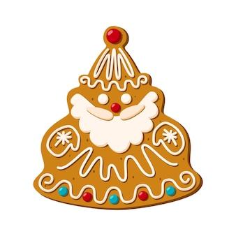 Pan de jengibre de navidad santa claus. dulces caseros. vector