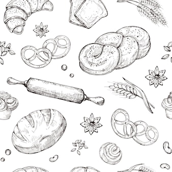 Pan de patrones sin fisuras. vector de repetición de panadería boceto vintage