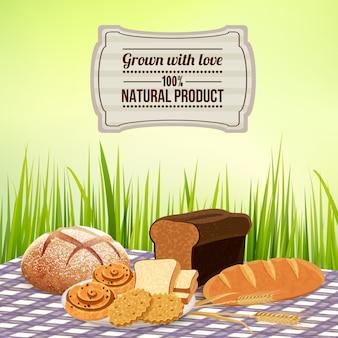Pan con plantilla de producto natural casero